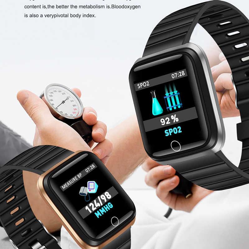 موضة SmartWatch الرجال النساء مراقب معدل ضربات القلب ضغط الدم المقتفي جهاز تعقب للياقة البدنية الرياضة مقاوم للماء ساعة ذكية آيفون