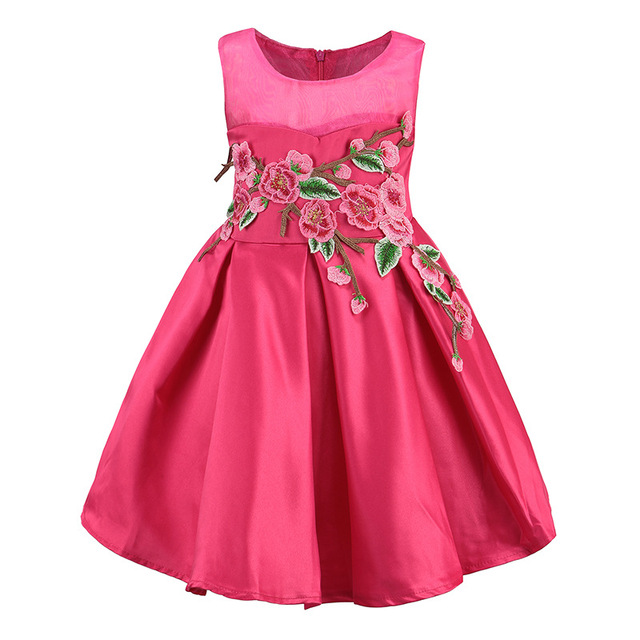 2017 Childrens Dresses summer Fashion baby girl dress Children flower embroidered Dress Vestidos Costumes Beauty Luxurious dress