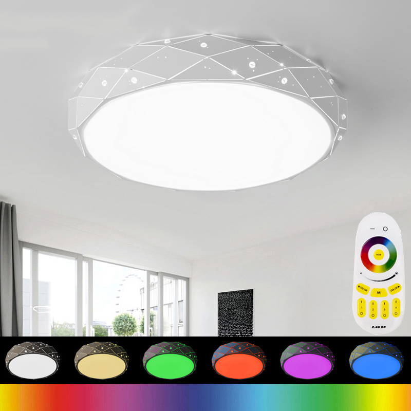 85-265V LED Ceiling Lights RGB Lamp Plafonnier Led Moderne 2.4G RF Remote Lamparas De Techo Luminaria For Bedroom Living Room led ceiling lights luminaria iron living lamp bedroom light lighting indoor moderne stepless dimming lamparas de techo acrylic