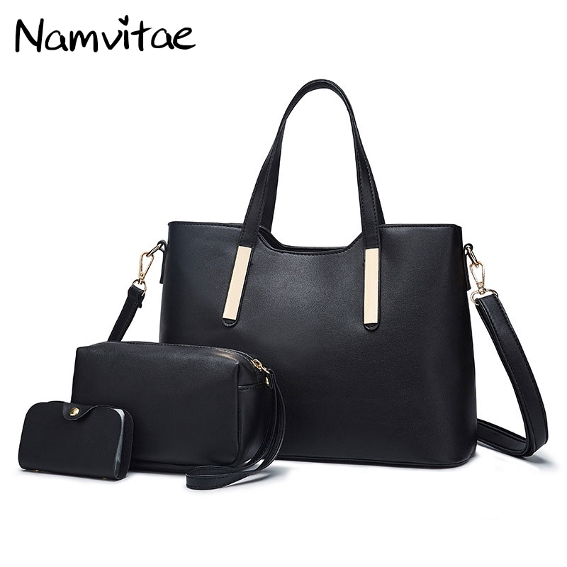 Namvitae Women Leather Handbag Casual Tote Bag High Quality 3pcs Set Shoulder bag PU Leather Female Big Handbags Bolsa Feminina