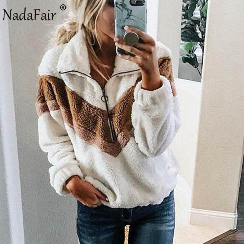 Nadafair Casual Fleece Sweatshirt Women 2019 Patchwork Zip Faux Fur Oversized Winter Fluffy Hoodie Female Plus Size Pullovers