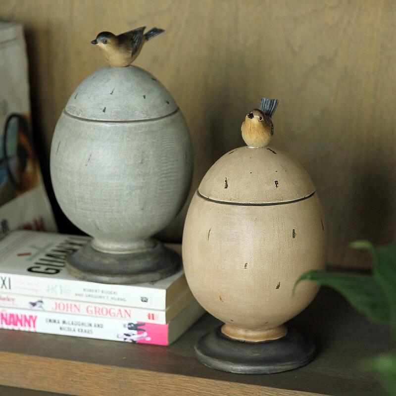 Village pastoral américain décoration d'ameublement artisanat peint oiseau oeuf en forme de réservoir de stockage boîte de stockage bijoux ornements
