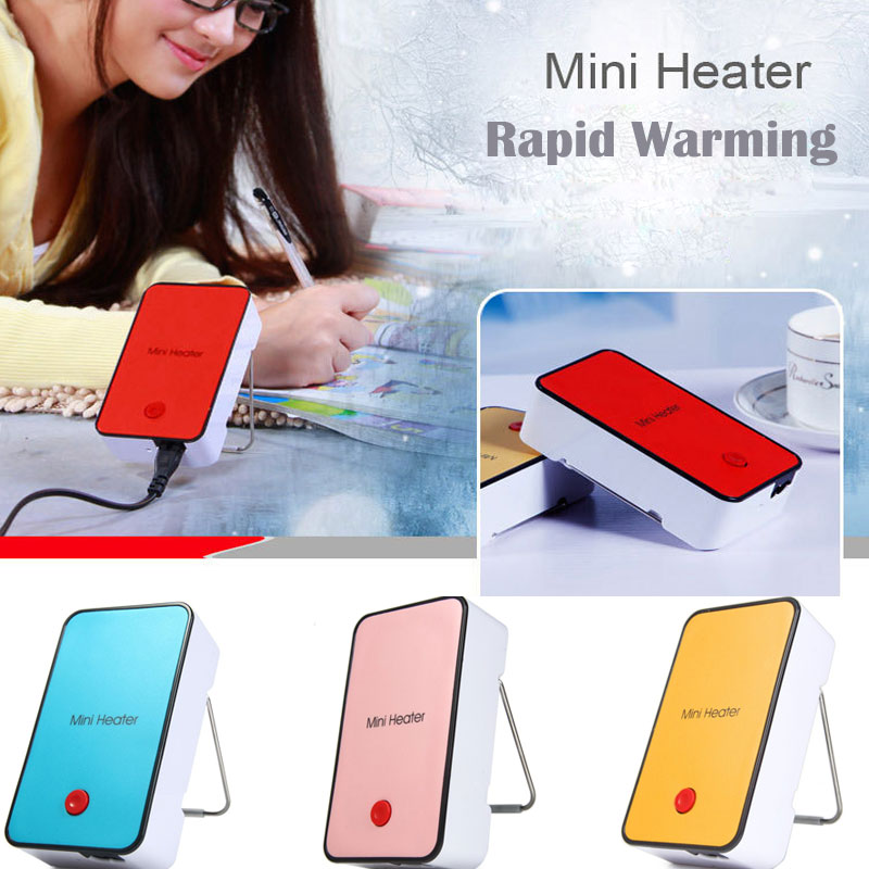 6 Color Mini Warm Air Electric Heater Portable Desk Fan Fire Protection  Materials Handheld Electric Heating For Office Home