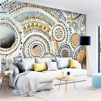 Cutom 3D Wall Paper Mural On The Wall Wholesale Mosaic Diamond And Sea Shell Look For
