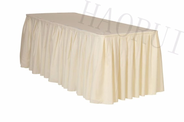 21ft X29 Ivory 5pcs Polyester DIY Table Skirt For Outdoor Wedding Party Dining Setting