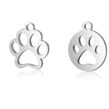 10pcs 316L Stainless Steel Double Side Polished Hollow Out Lovely Dog Print Paw Round Coin Charm Pendant DIY Jewelry Accessories