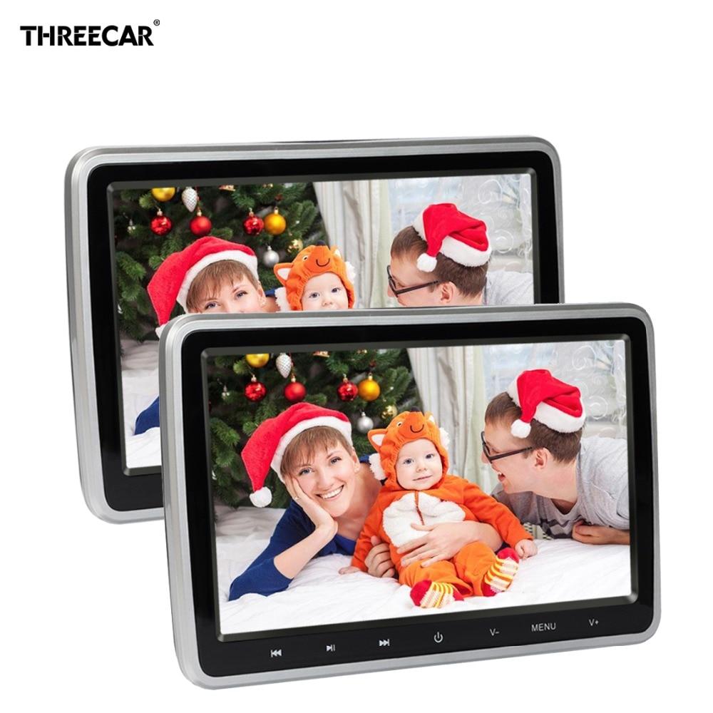 2 Pcs/lot 10 1024x600 HD Car Headrest Monitor LCD Screen Car Monitor Display Digital DVD Audio Video Player With USB/SD/FM/Game