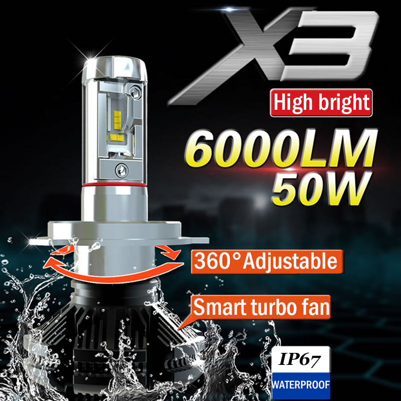 Xplus X3 High/low Beam H4 H7/11 9005/6 HB3/4 Car LED Headlight Bulbs 50W 6000LMAll In One ZES Headlamp Fog Light