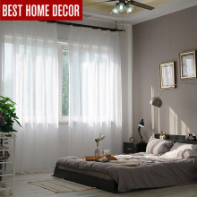 Elka soild white tulle sheer window curtains for living room the bedroom modern organza voile cheap