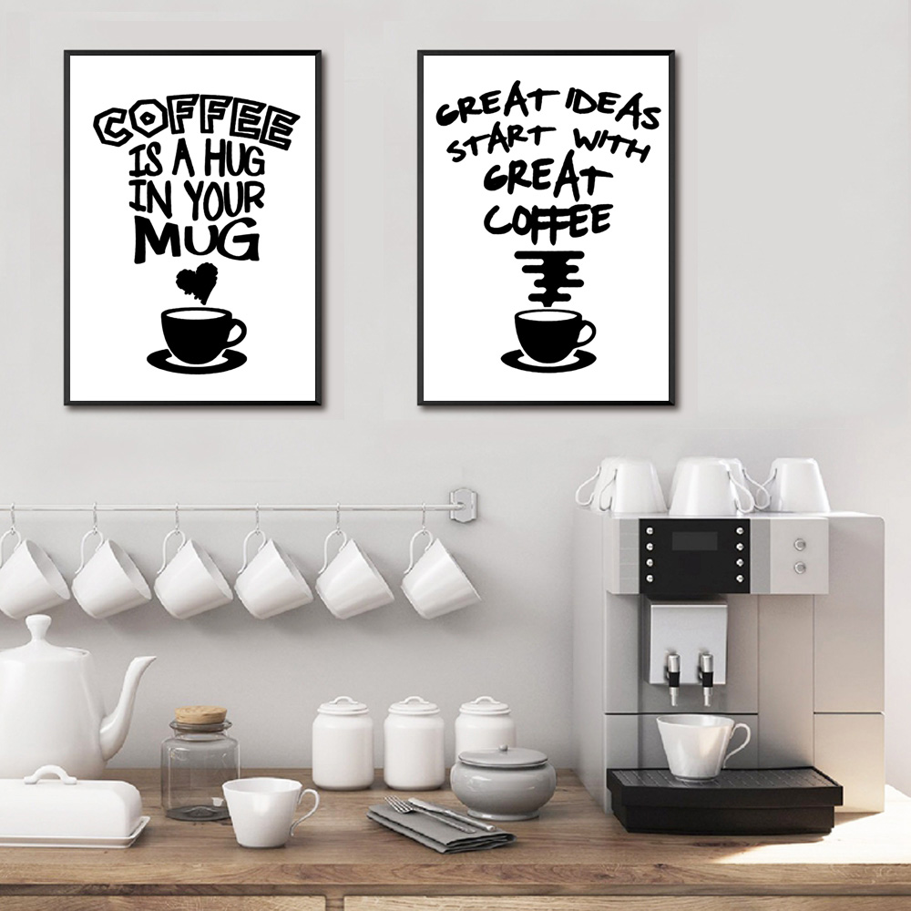Image 2 - Fasion Poster Black And White Posters And Prints Quotes Wall Canvas Coffee Painting Quotes Pictures Quote Poster Art Unframed-in Painting & Calligraphy from Home & Garden