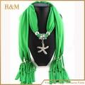 Moda europea y americana colgante Starfish Glass bufandas para mujeres / damas 2016 de la bufanda envío gratis