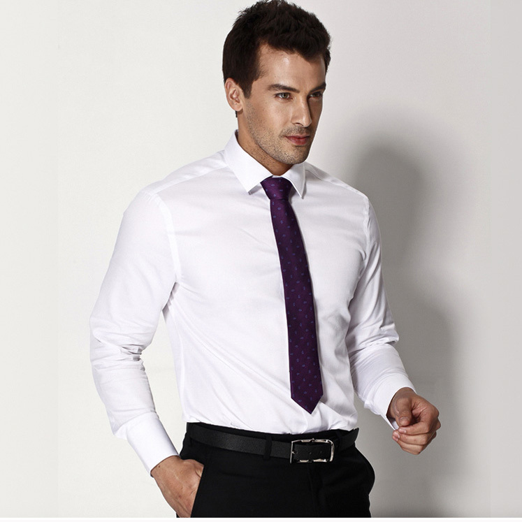 free delivery French formal white collar shirt male shirt men's ...