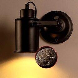 Kinkiet amerykańska Retro kraj stylu Loft Lampy LED przemysłowe rocznik żelaza kinkiet oświetlenie baru Cafe oświetlenie domu Wewnętrzne kinkiety LED Lampy i oświetlenie -