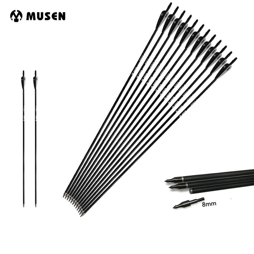 6/12/24 piezas mixto Flecha de carbono longitud 30 pulgadas columna 500 blanco y negro pluma para arco recurvo /compuesto arco tiro con arco caza