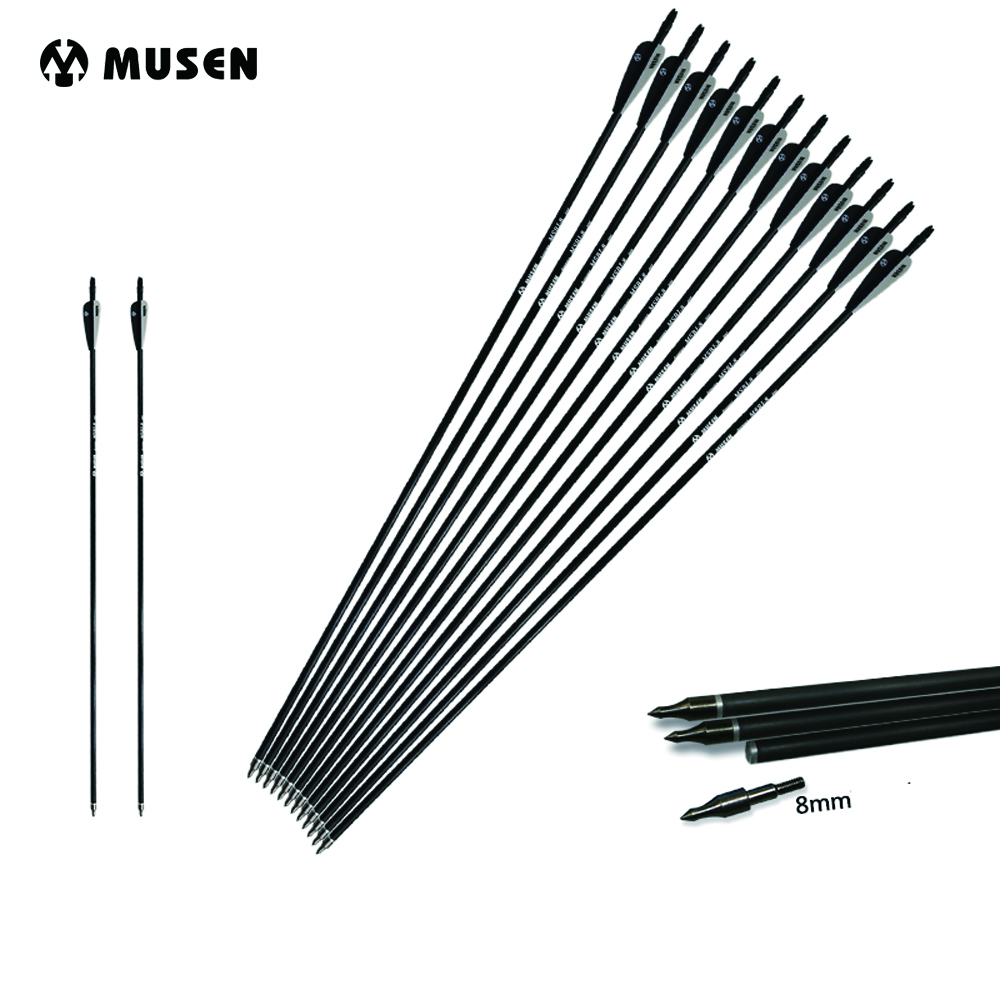 6/12/24pcs Mixed Carbon Arrow Length 30 Inches Spine 500 Black and White Feather for Recurve/Compound Bow Archery Hunting