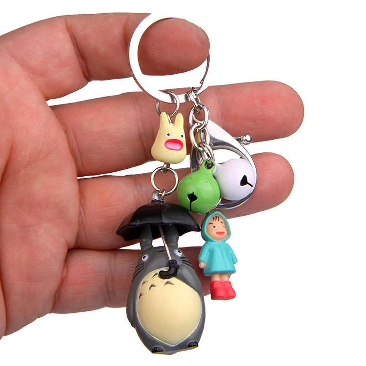 Guarda-chuva Totoro Sorriso Mei Boneca Simples Moderno Dos Desenhos Animados Animação Figura de Ação Sino Saco Bolsa Titular Do Anel Chave Chaveiro Mascote