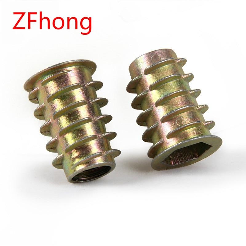 10-50Pcs M4 M5 M6 M8 M10 Zinc Alloy Thread For Wood Insert Nut Flanged Hex Drive Head Furniture Nuts
