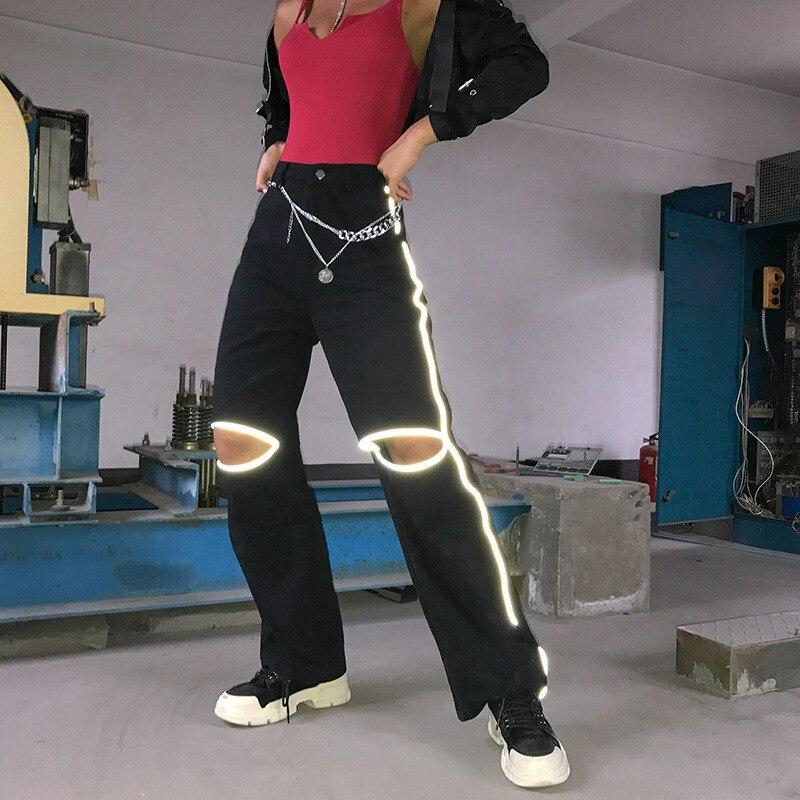 Women Harajuku Reflective Black   Pants   Streetwear High Waist Cargo   Pants     Capris   Summer Casual Joggers Trousers Pantalon femme