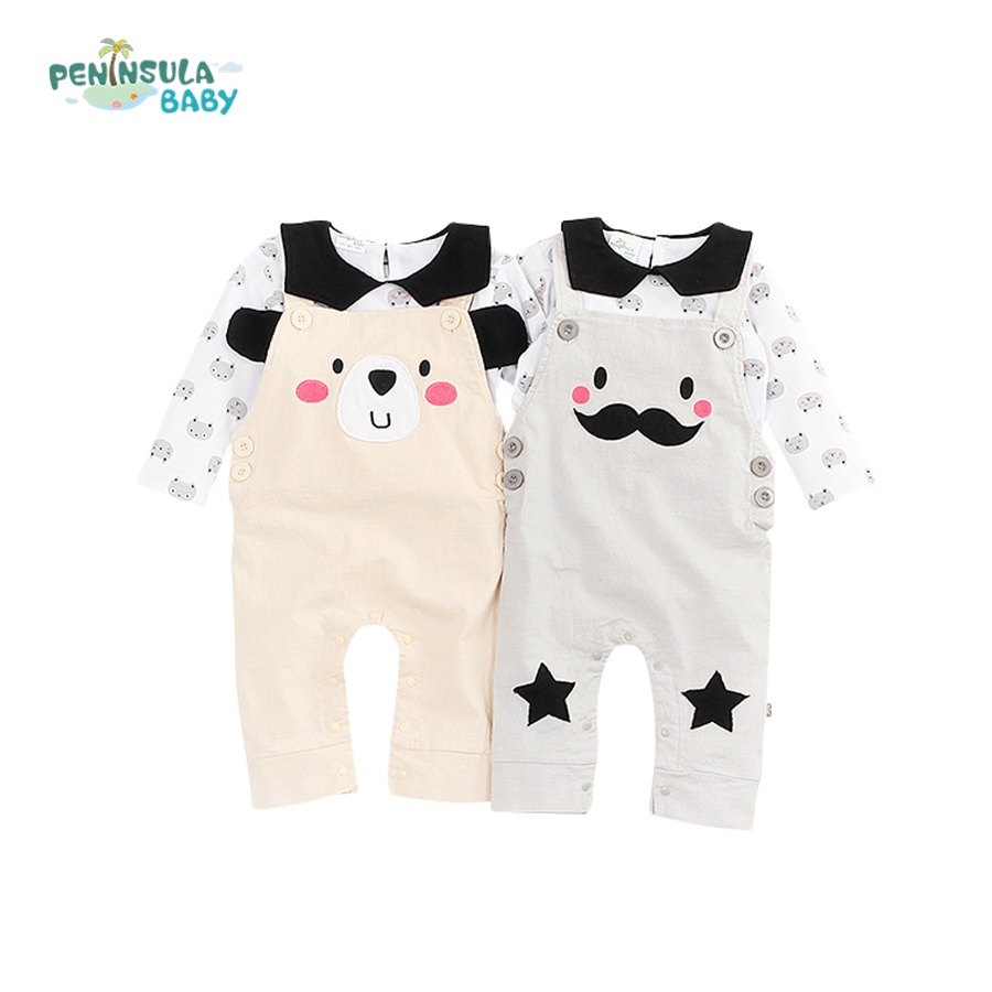 2017 Spring Style Baby Rompers Girls Boys Clothes Set Cotton Cute Beard Bear Long Sleeve Newborn Jumpsuit Outfit Toddler Costume baby rompers 2016 spring autumn style overalls star printing cotton newborn baby boys girls clothes long sleeve hooded outfits
