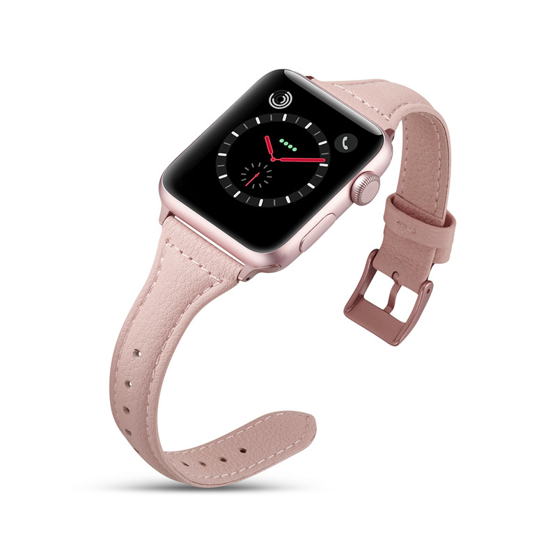 Slim Genuine Leather Strap For Apple Watch 4 Band 40mm 44mm VIOTOO Rose Red Sport Wristband For iWatch 42mm 38mm Bands in Watchbands from Watches