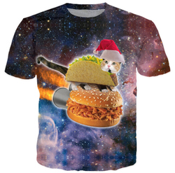Harajuku women men 3d galaxy print t shirt space christmas hamburger taco cat printed tshirts t.jpg 250x250