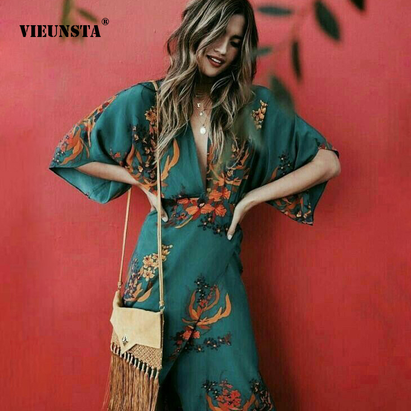 VIEUNSTA Women <font><b>Sexy</b></font> Deep V-neck <font><b>Dress</b></font> <font><b>Vintage</b></font> Floral Print Boho A-Line <font><b>Dress</b></font> Summer Autumn Half Sleeve Split Long <font><b>Dresses</b></font> 3XL image