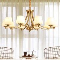 All copper American chandelier living room lamp home bedroom lighting modern gold restaurant led chandelier copper lamp