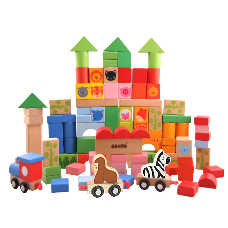 100PCS Wooden Forest Animal Toys Building Blocks for Boys and Girls Early Learning Development Assembly Blocks Toy Birthday Gift elc 100 bricks toy wooden building blocks storage bag confirm to en 71 freeshipping