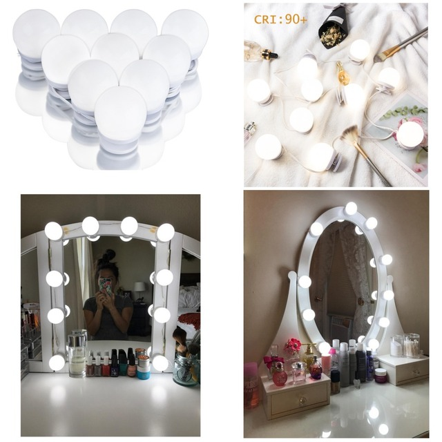 LED Makeup Light,10 LED Mirror Bulbs, Hollywood Vanity Light Strip ...