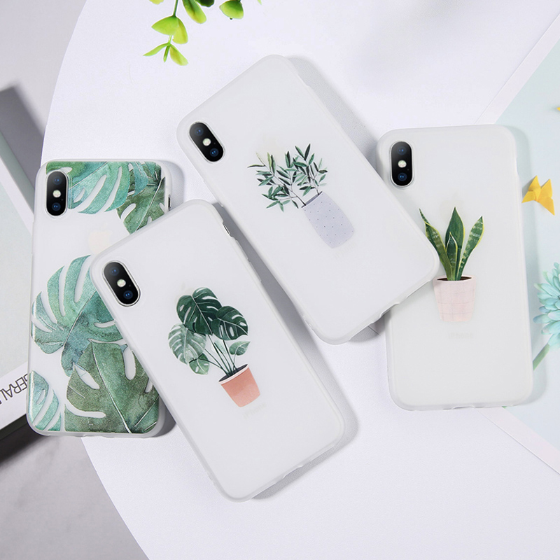 Moskado Funny Potted Plant Phone Case For iPhone 7 8 Plus XS Max X XR Summer Green Leaf 6 6S 5 5S SE Back Cover