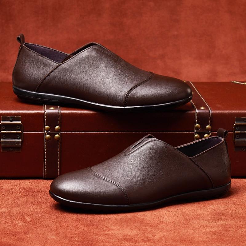 Homens Slip Homem Clássico Sapato Respirável Grande Moda Dos Juventude Couro Brown De Para dark on Condução Calçados Black Casuais Vaca Tamanho Genuíno Sapatos P7qn7tZ