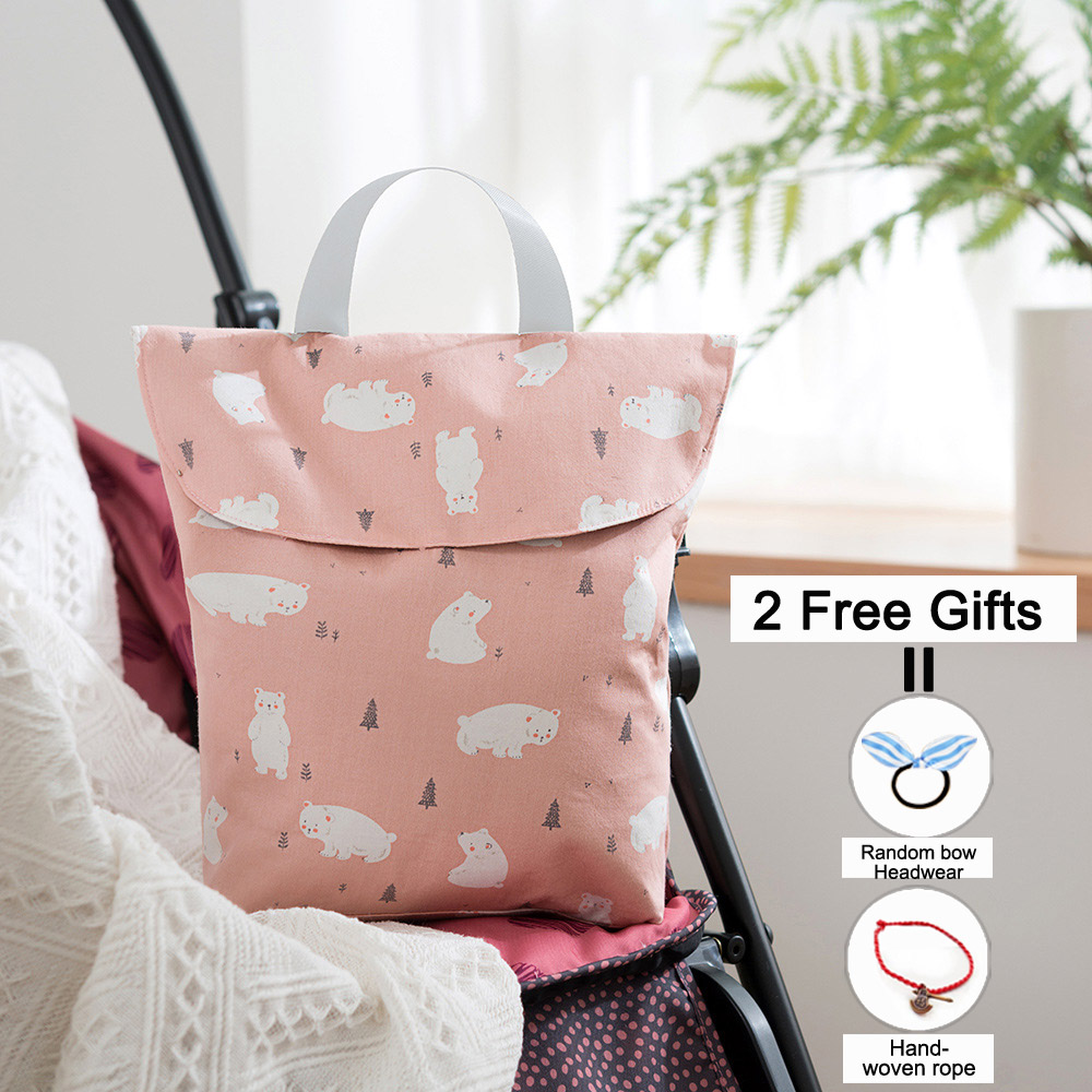 SeckinDogan Baby Stroller Bag Waterproof Cloth Diaper Bag Double Layer Mommy Bag Newborn Care Wet/Dry Nappy Organizer Handbag