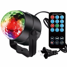 1pcs Mini 3W Music sound activated crystal magic ball RGB stage light KTV magic color pattern
