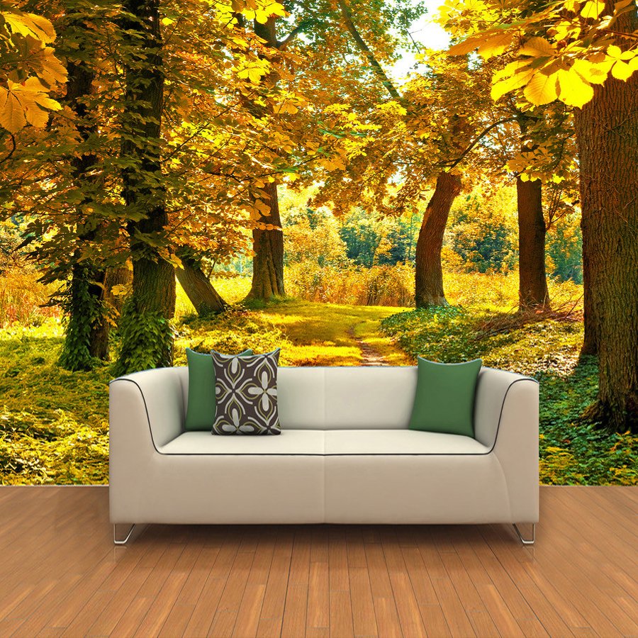 Custom Mural Wall Paper 3D HD Autumn Maple Leaf Grove ...