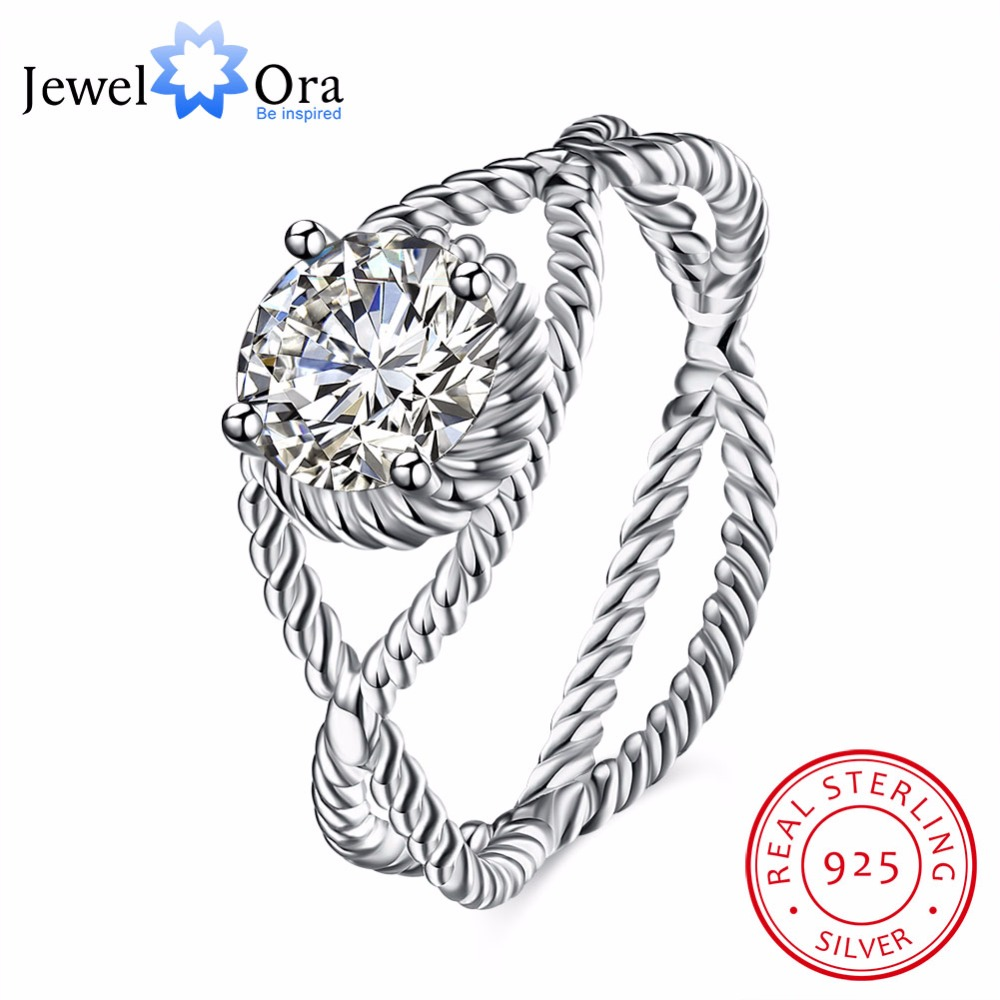 Solid 925 Sterling Silver Ring Design  9mm Stone Cubic Zirconia Jewelry Women Rings For Party (JewelOra RI102585)