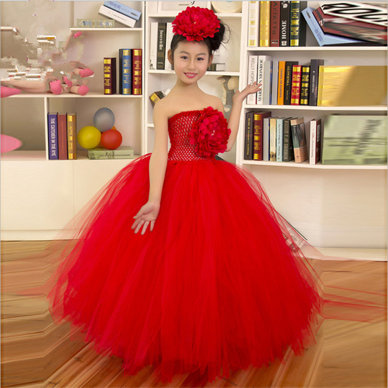 1-8 Years Kids Baby Princess Flower Tulle Girl Tutu Dress Wedding Birthday Photograp Evening Party Dresses Flower Girls Dresses