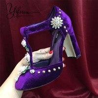 YIFSION/Новые весенне летние женские туфли лодочки из натуральной кожи в стиле ретро, женские туфли лодочки на высоком массивном каблуке с круг