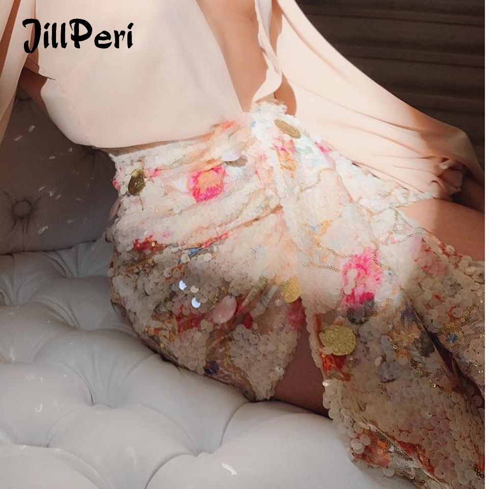 JillPeri Women Floral Shell Sequin Skirt Fashion Sweet Front Drop Short Bottom High Waist Luxury Daily Outfit Club Party Skirts