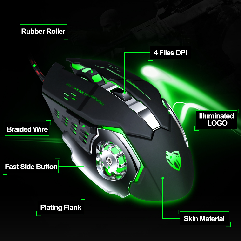 Pro Gamer Gaming Mouse 8D 3200DPI Adjustable Wired Optical LED Computer Mice USB Cable Silent Mouse