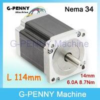 Cncネマ34ステッピングモータ86 × 114ミリメートル8.7 n. m 6a nema34シャフト14ミリメートルステッピングモータ1172Oz-in用cnc彫刻機