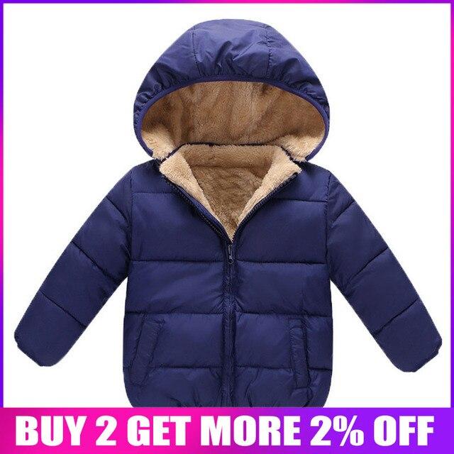 BibiCola Winter Baby Boys Jackets Girls Cotton Snowsuit Coats Baby Thicken Warm Velvet Parkas Kids Boy Jackets Outerwear clothes