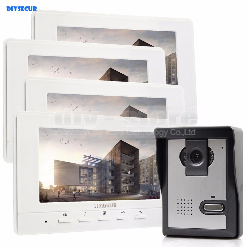 DIYSECUR 800 x 480 7inch Video Intercom Video Door Phone Doorbell 1 Camera 4 Monitors for
