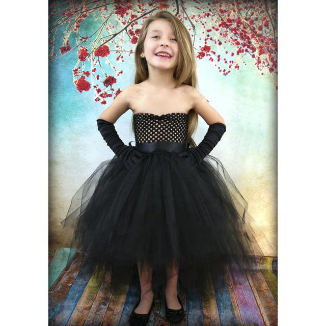De Halloween Vestido de Princesa Girls Kids Tutu Vestido de Verano para Niñas Negro Ocasional Ropa Muchachas de la Flor para la Fiesta de Cumpleaños PT03