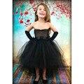 Meninas Vestido de Princesa Vestido de Verão Crianças Tutu Vestido para As Meninas do dia das bruxas Preto Flor Meninas Roupas Casuais para a Festa de Aniversário PT03