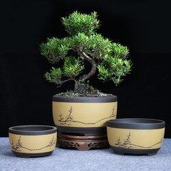 Bonsai doniczka ceramiczna okrągła duża średnie i małe doniczka do Bonsai zielona donica na rośliny w kształcie bębna w stylu chińskim w Doniczki i skrzynki do kwiatów od Dom i ogród na