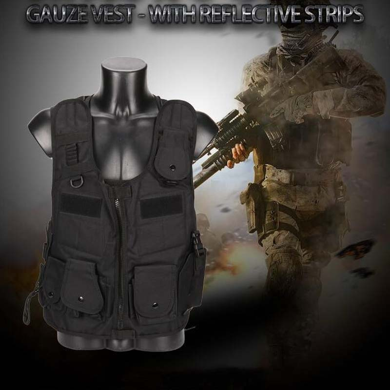 Tactical Vest Army Military Equipment Paintball Airsoft Vest Combat Men For Hunting CS Wargame Gauze Vest With Reflective Strips