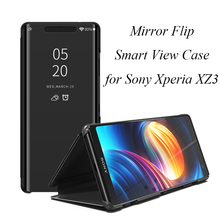Mirror Flip Case For Sony Xperia XZ3 Luxury Clear View PU Leather Cover Smart phone for
