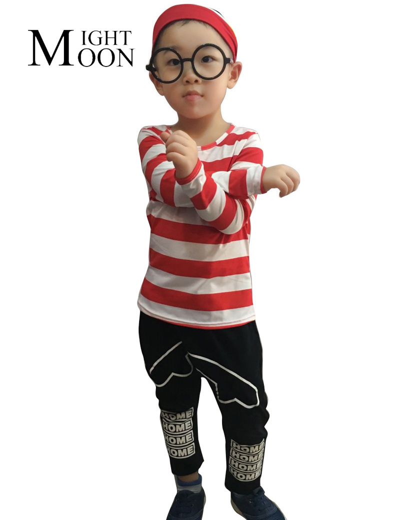 MOONIGHT Children Boys Halloween Where's Wally Cosplay Shirt Red Stripe Cute Costumes Game Party Uniform With Hat Glasses