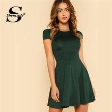 Sheinside Open Back Fit & Flared Dress Women Cap Sleeve