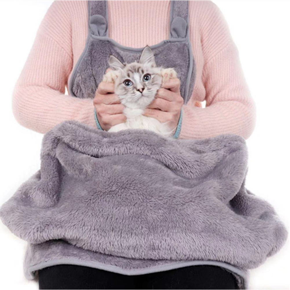 In Staat Fashion Coral Fleece Gift Holding Hond Kat Anti-stick Haar Thuis Outdoor Pocket Comfortabele Grey Grote Zachte Huisdier Draagtas Schort Supplement The Vital Energy And Yin